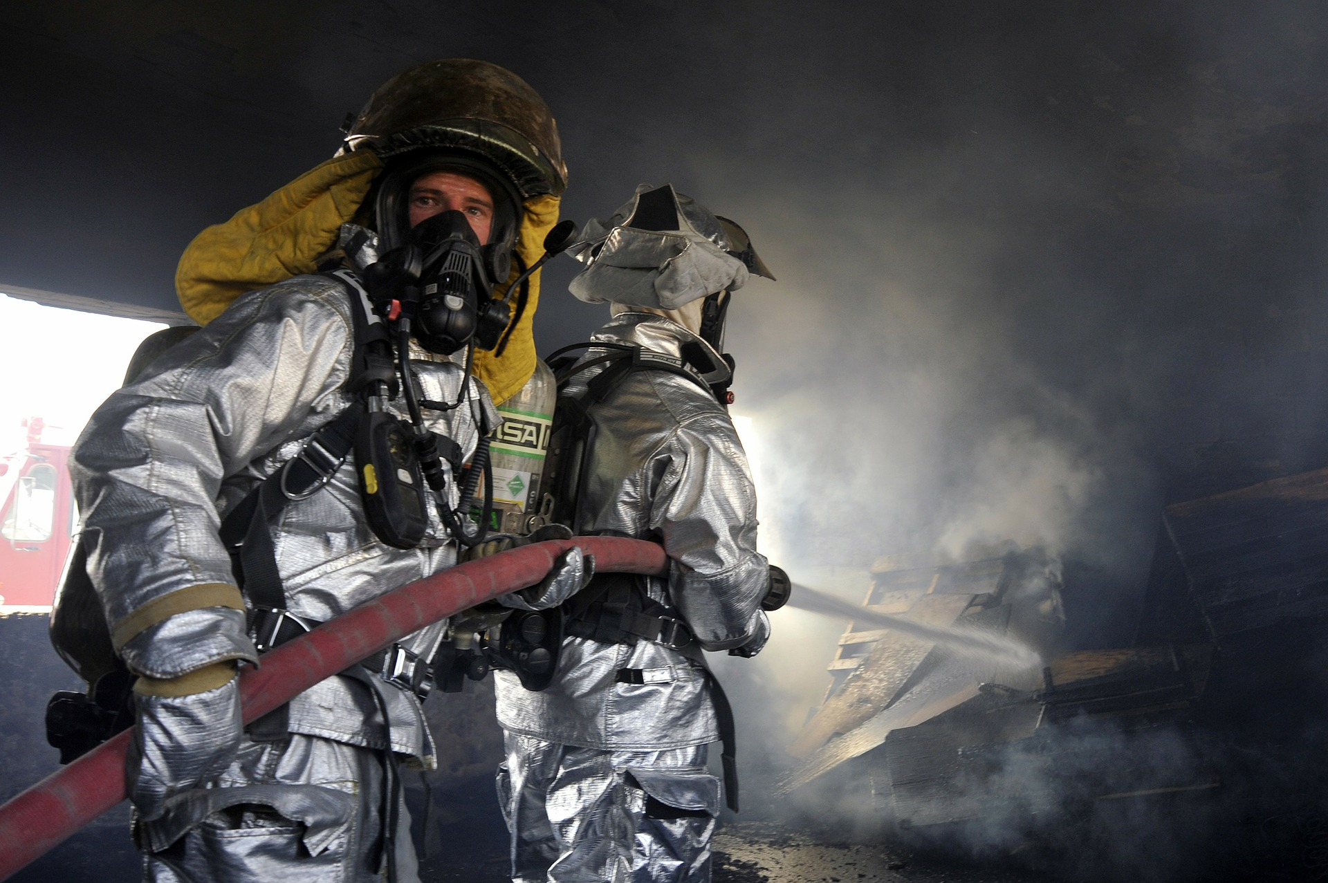 A firefighter with a gas mask